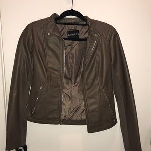(Minus The) Leather Double Peplum Jacket - Express
